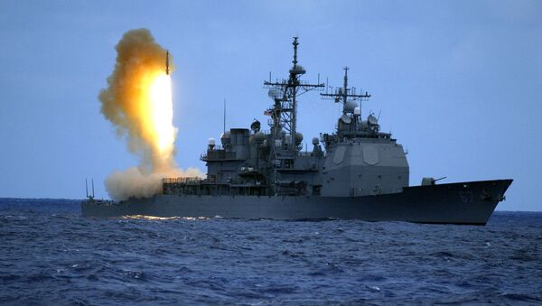 US Navy handout shows a Standard Missile Three (SM-3) being launched from the guided missile cruiser USS Shiloh - Sputnik International
