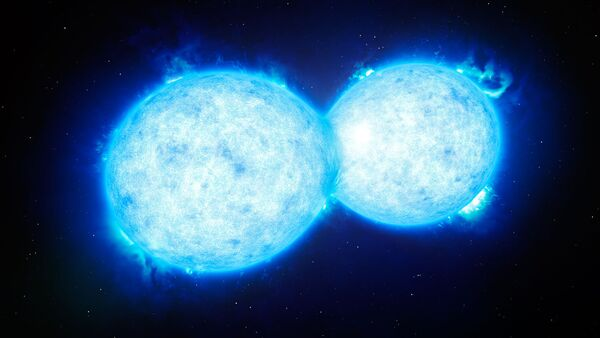 This artist's impression shows VFTS 352 — the hottest and most massive double star system to date where the two components are in contact and sharing material - Sputnik International