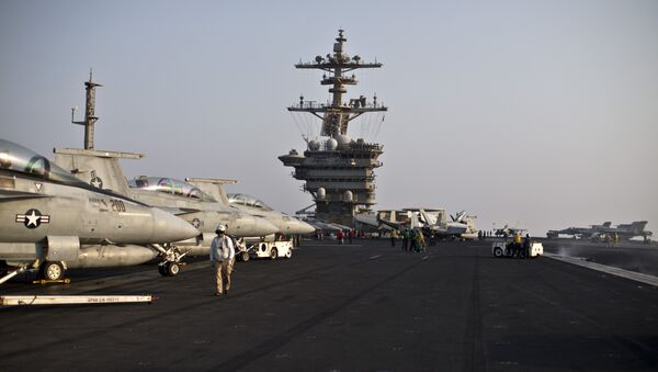 This photo shows a general view of the USS Theodore Roosevelt flight deck (File) - Sputnik International