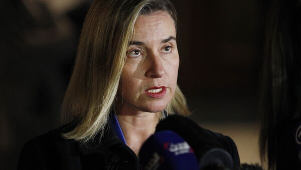 Federica Mogherini, the High Representative for Foreign Affairs and Security Policy of the European Union talks to the press on October 23, 2015 in Vienna - Sputnik International