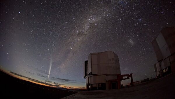A handout photo provided on December 24, 2011 by the European Southern Observatory (ESO) shows the recently discovered Comet Lovejoy being captured in stunning photos and time-lapse video taken on December 22 from ESO's Paranal Observatory in Chile - Sputnik International