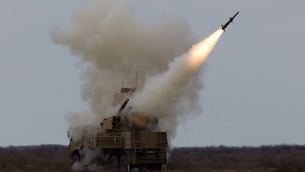 Rocket launch by the Pantsir-S surface-to-air missile system during an exercise (air defense conference) of the Air Defense soldiers. Ashuluk firing ground, Astrakhan region - Sputnik International