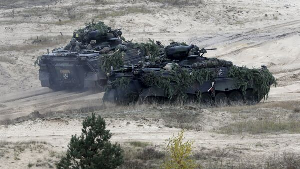 """German army Marder infantry fighting vehicles participate in Operation Hazel"""" military drill at the Adazi training field, Latvia, October 22, 2015 - Sputnik International"""