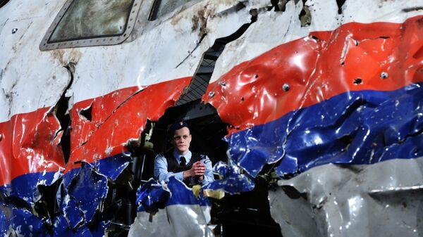 Реконструкция крушения лайнера Boeing 777 Malaysia Airlines (рейс MH17) на Востоке Украины 17 июля 2014 года на военной базе Гилзе-Рейен в Нидерландах - Sputnik International