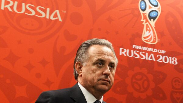 Vitaly Mutko, Minister of Sport and President of the Russiasn Football Union, attending a press briefing on FIFA and Russia-2018 Organizing Committee visits to 2018 world football championship stadiums - Sputnik International