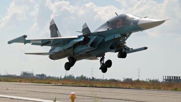 The Su-34 lands at Latakia airport, Syria. file photo - Sputnik International