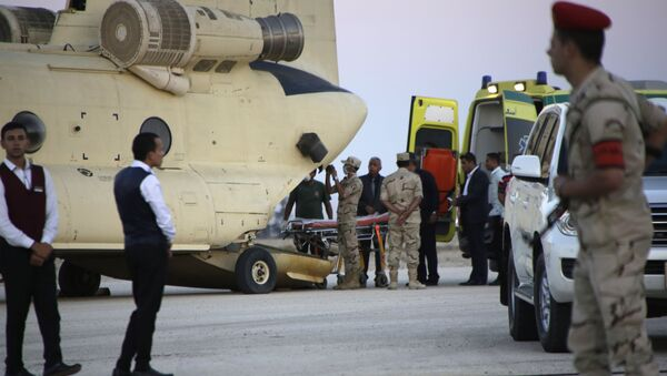 Egyptian emergency workers unload bodies of victims from the crash of a Russian aircraft over the Sinai peninsula from a police helicopter to ambulances at Kabrit military airport, some 20 miles north of Suez, Egypt, Saturday, Oct. 31, 2015 - Sputnik International