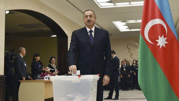 Azerbaijan's President Aliyev casts his ballot at polling station during parliamentary election in Baku - Sputnik International