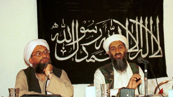 Ayman al-Zawahri, left, holds a press conference with Osama bin Laden in Khost, Afghanistan in 1998. - Sputnik International