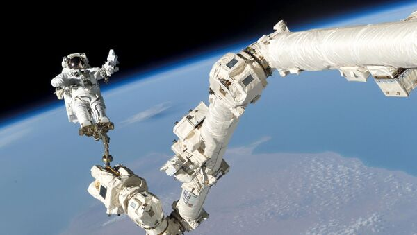 Astronaut Stephen K. Robinson, STS-114 mission specialist, anchored to a foot restraint on the International Space Station's Canadarm2, participates in the mission's third session of extravehicular activity (EVA) August 3, 2005 - Sputnik International