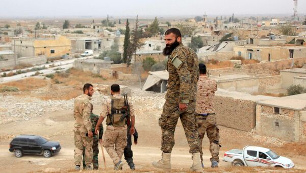 Syrian government forces walk in the village of Jabboul on the eastern outskirts of the northern Syrian city of Aleppo after taking control of the village from Islamic State (IS) group islamists - Sputnik International