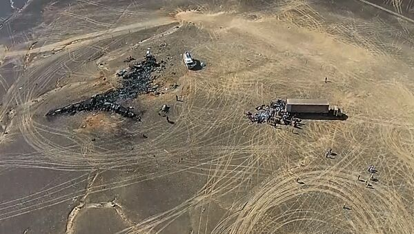 A view from a drone at the Russian Emergencies Ministry camp by the crash site of the Russian Airbus A321 (owned by Kogalymavia) that performed flight 9268 from Sharm el-Sheikh to St Petersburg - Sputnik International