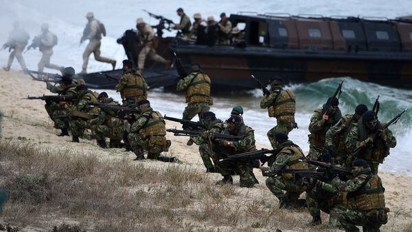 Portuguese Fuzileiros secure an area after disembarking from an amphibious transport during an exercise as part of the NATO's Trident Juncture 2015 in Troia, 100 kms south of Lisbon on November 5, 2015 - Sputnik International