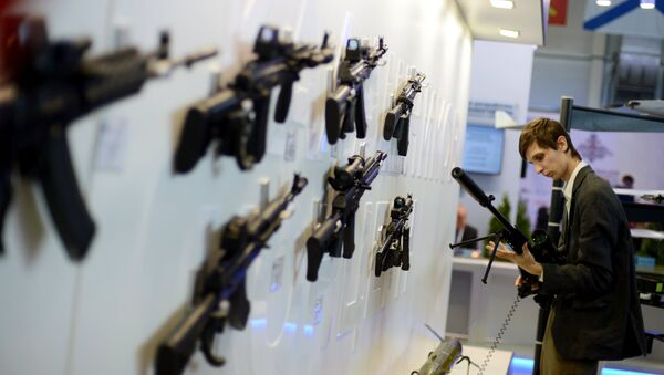 Kalashnikov mount displayed at the Russian Defense Ministry's Innovation Day 2015 exhibition, on the premises of the congress and exhibition center of the Russian armed forces in Kubinka, Moscow Region - Sputnik International