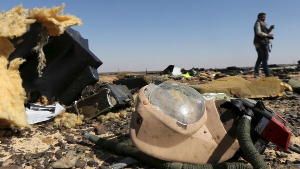 A debris from a Russian airliner is seen at its crash site at the Hassana area in Arish city, north Egypt, November 1, 2015 - Sputnik International