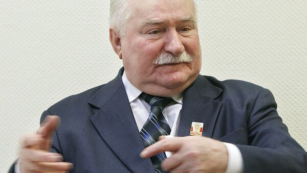 Poland's former president and Solidarity leader Lech Walesa talks with The Associated Press in Warsaw, Poland, Thursday, Feb. 19, 2015 - Sputnik International