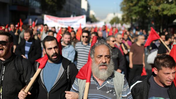 Members of the PAME Communist-affiliated union protest during a 24-hour nationwide general strike in Athens, Thursday, Nov. 12, 2015. - Sputnik International