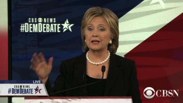 A screenshot of presidential candidate Hilary Clinton taking part in the CBS Democratic Debate, November 14, 2015 - Sputnik International