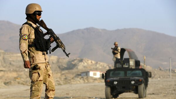 File photo of an Afghan policemen stand guard at a checkpoint in the Deh Sabz district of Kabul, Afghanistan October 14, 2015 - Sputnik International
