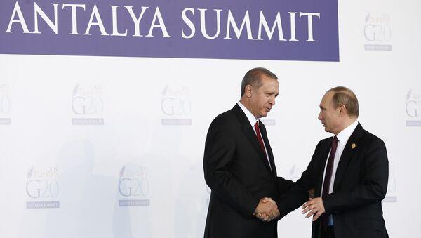 Turkish President Recep Tayyip Erdogan (L) greets Russian President Vladimir Putin (R) during the 'Welcoming Ceremony' prior to the G20 Turkey Leaders Summit on November 15, 2015 in Antalya - Sputnik International
