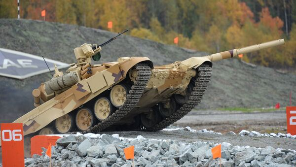 A T-90S tank, the export version of T-90, at the Ninth International Exhibition of Arms, Military Equipment and Ammunition Russia Arms Expo 2013 in Nizhny Tagil - Sputnik International