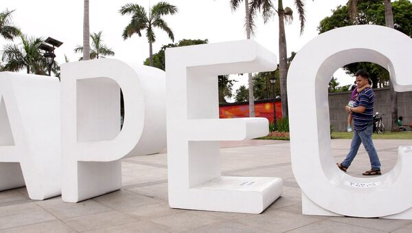 A resident carries his child past an Asia-Pacific Economic Cooperation (APEC) sign in Manila's Rizal park, where the APEC summit will be held next week, in Manila November 15, 2015 - Sputnik International