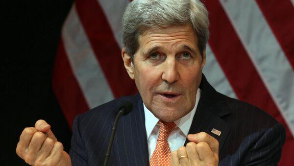 US Secretary of State John Kerry speaks during a news conference in Vienna, Austria, Saturday, Nov. 14, 2015 - Sputnik International