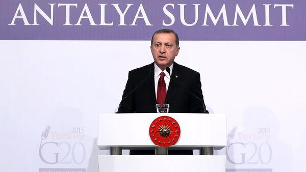 Turkish President Recep Tayyip Erdogan delivers a speech following a working session during the G20 Summit in Antalya, Turkey, on November 16, 2015 - Sputnik International