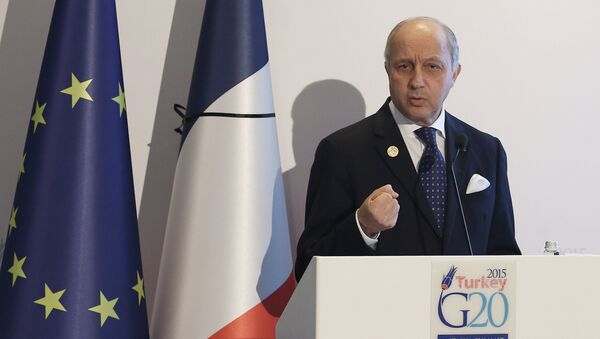 French Minister for Foreign Affairs Laurent Fabius speaks during a press conference at the G-20 Summit on November 16, 2015 in Antalya - Sputnik International