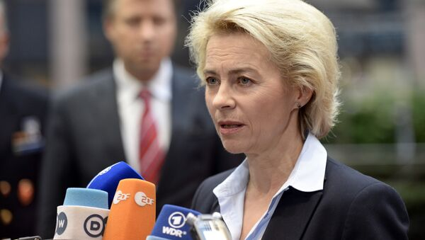 German Minister of Defence Ursula von der Leyen talks to journalists prior to the start of an European Union Defence Ministers' meeting at the EU Council in Brussels on November 17, 2015 - Sputnik International