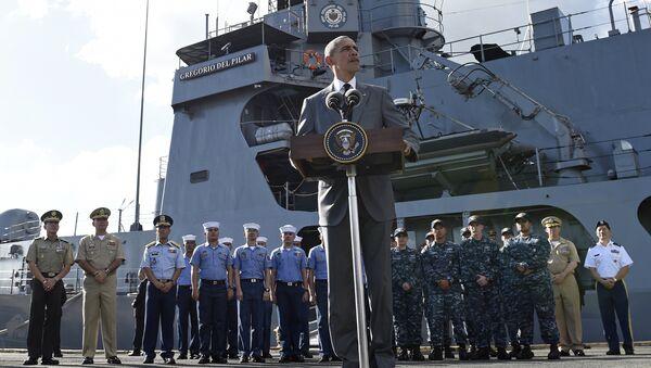 US President Barack Obama speaks to reporters after touring the BRP Gregorio del Pilar in Manila, Philippines, Tuesday, Nov. 17, 2015. - Sputnik International