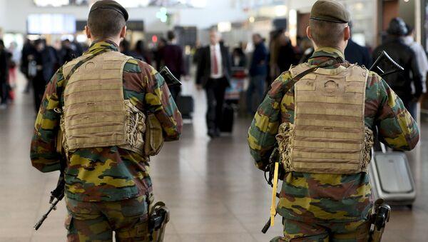 Military police soldiers patrol the Brussels Airport in Zaventem, eastern Brussels - Sputnik International