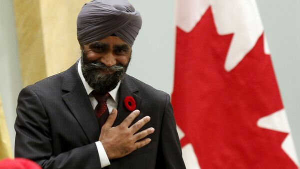 Canada's new National Defence Minister Harjit Sajjan gestures after being sworn-in during a ceremony at Rideau Hall in Ottawa, Canada, November 4, 2015. - Sputnik International