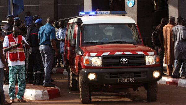 An ambulance seen outside the Radisson Blu hotel, after an attack by gunmen on the hotel, in Bamako, Mali, Friday, Nov. 20, 2015. Islamic extremists armed with guns and grenades stormed the luxury Radisson Blu hotel in Mali's capital Friday morning, and security forces worked to free guests floor by floor. - Sputnik International