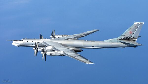 A Russian Tu-95 Bear 'H' photographed from a RAF Typhoon Quick Reaction Alert aircraft (QRA) with 6 Squadron from RAF Leuchars in Scotland in April 2014 - Sputnik International
