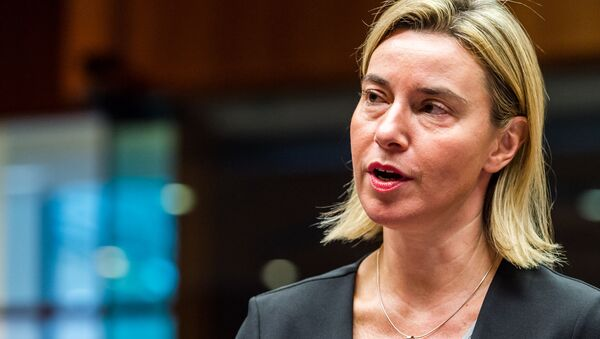 European Union High Representative for Foreign Affairs and Security Policy Federica Mogherini arrives for an EU foreign ministers meeting at the EU Council building in Brussels on Monday, Nov. 16, 2015 - Sputnik International