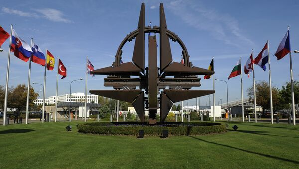 The NATO emblem is seen before a defence ministers meeting at the NATO headquarters in Brussels on October 22, 2013 - Sputnik International