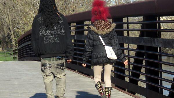 A couple crosses a bridge in Forest Park, Illinois - Sputnik International