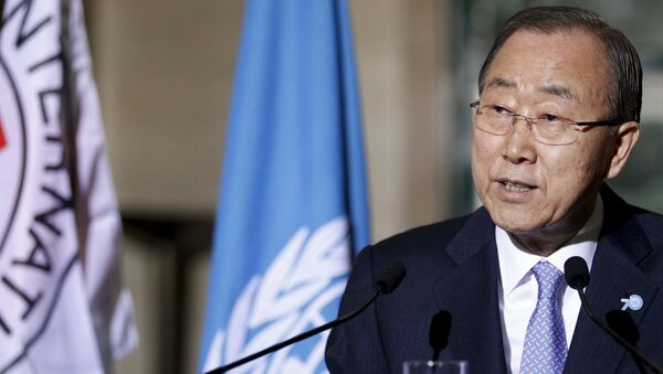 U.N. Secretary-General Ban Ki-Moon speaks to the media with International Committee of the Red Cross (ICRC) President Peter Maurer (not pictured) about the world's humanitarian crises at the United Nations European headquarters in Geneva, Switzerland, October 31, 2015 - Sputnik International
