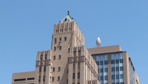 The Bassett Tower (left, designed by Trost & Trost) and El Paso Natural Gas Company Building (right); El Paso, Texas - Sputnik International