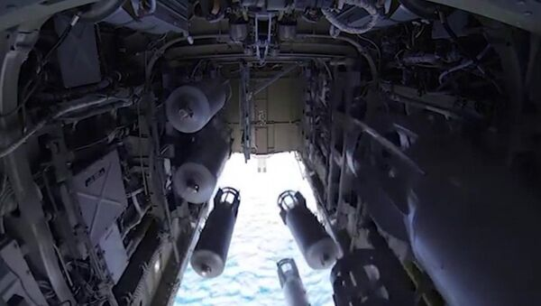The bomb-door of the Tu-22 M3 missile-carrying bomber, the Russian aerospace forces, on its operational mission to deliver air strikes at ISIS targets in Syria - Sputnik International