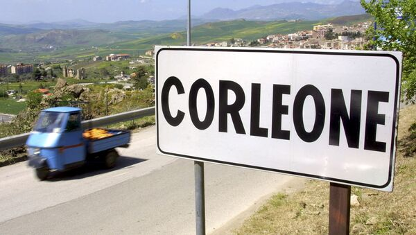 A villager drives a small moto ape utility truck past a road sign in the small Sicilian town of Corleone, Italy in this April 12, 2006 file photo - Sputnik International