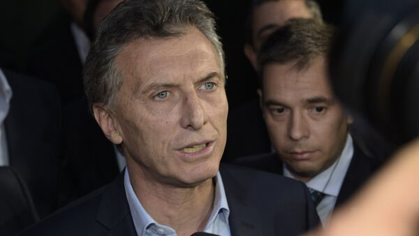 Argentine President-elect Mauricio Macri speaks to the press at the Olivos presidential residence in Buenos Aires, where he arrived to meet outgoing president Cristina Fernandez de Kirchner to define the transition, on November 24, 2015 - Sputnik International