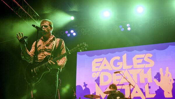 Jesse Hughes of the rock band Eagles of Death Metal performs with drummer Joey Castillo (R) at Festival Supreme at Shrine Auditorium in Los Angeles, California in this picture taken October 25, 2014. - Sputnik International