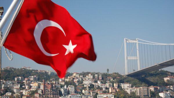 Bosphorus Bridge and Turkish Flag - Sputnik International