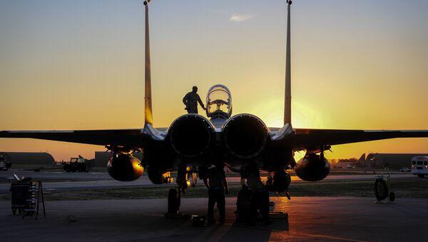 File photo of US Air Force F-15E Strike Eagle sits after shortly landing at Incirlik Air Base, Turkey - Sputnik International