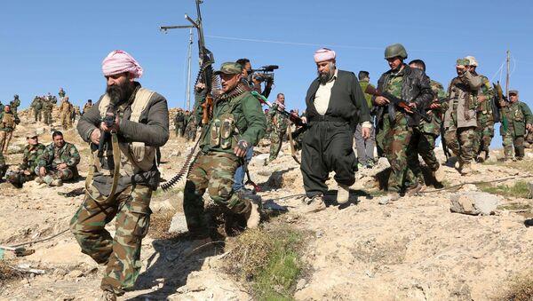 Members of the Kurdish peshmerga forces gather in the town of Sinjar, Iraq. File photo - Sputnik International