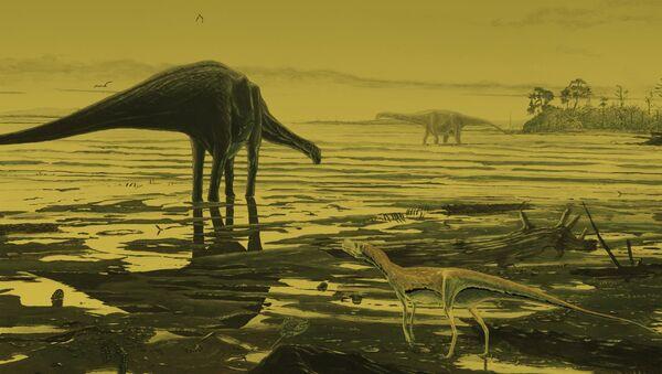 Handout of an artist's impression of Saurpod dinosaurs on the Isle of Skye - Sputnik International