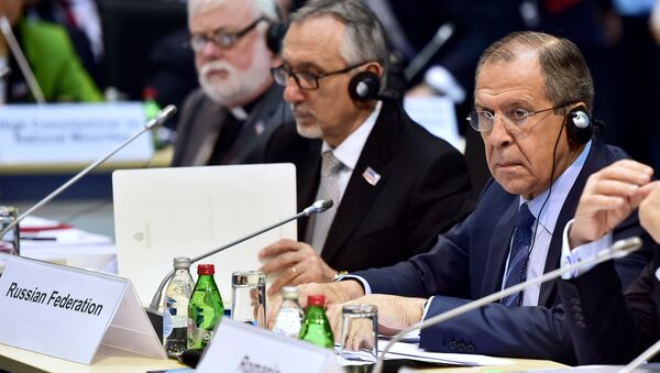 Foreign Minister of the Russian Federation Sergey Lavrov prepares for the opening of the annual ministerial council of the Organisation for Security and Cooperation in Europe (OSCE) at the Kombank Arena in Belgrade on December 3, 2015 - Sputnik International