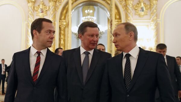 December 3, 2015. From right: Russian President Vladimir Putin, Chief of Staff of the Presidential Executive Office Sergei Ivanov and Prime Minister Dmitry Medvedev after Vladimir Putin's Presidential Address to the Federal Assembly at the Kremlin's St. George Hall - Sputnik International
